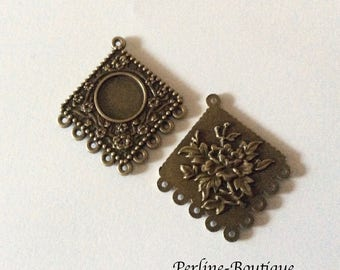 2 supports cabochons bronze antique