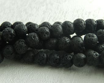 39 natural volcanic lava beads Black 10mm, hole: 1 m