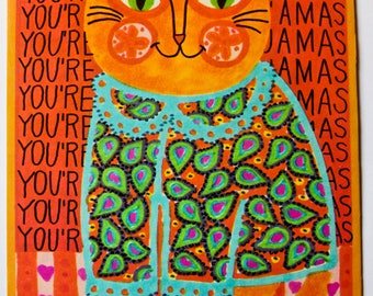 Vintage 1960s Postcard - You're the Cat's Pajamas Orange