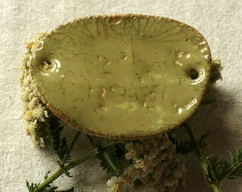 Porcelain plate green lichen with footprints
