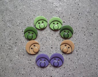 8 beautiful round fancy buttons children's resin