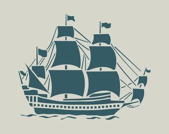 Sailboat. Boat. Boat stencil. (Ref 357) adhesive vinyl stencil