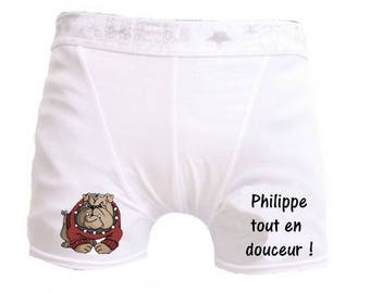 Gentle white men shorts personalized with name