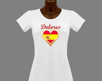 White women Spain t-shirt personalized with name