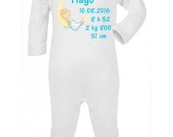 Pajamas baby Date time and personalized with name birth weight