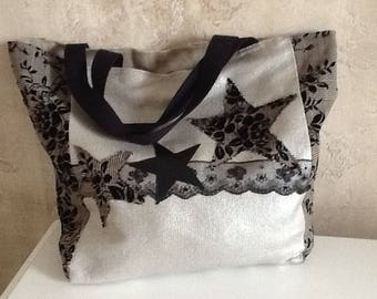 Checkered silver linen and cotton tote with flowers on thick