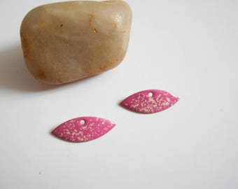 x 2 sequins Pink White 23 x 9 mm