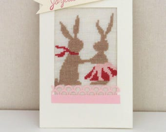 Happy Easter card, little bunnies hand embroidered.