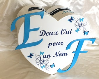 heart shaped blue and white wedding urn on the theme of butterflies