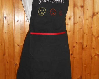 Apron adult with name and smiley cookie - cotton - black and Red