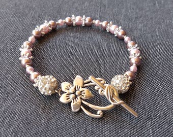 Bracelet pink pearl beads Silver Flower clasp