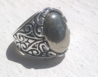 Ring Signet Ring with pyrite cabochon