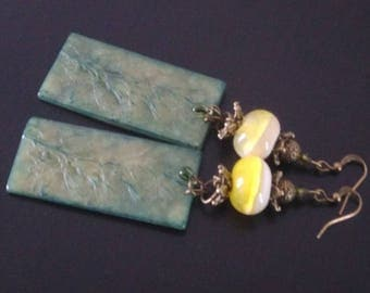 Earrings: Green Nature and Lampwork Glass