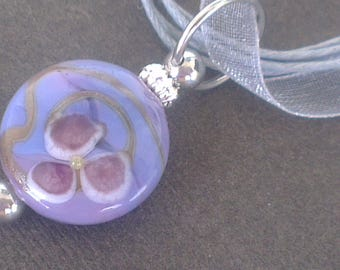 Lampwork Glass pendant: small flower - both sides