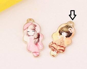 2 beautiful pendants, charms girls spirit manga enameled gold metal, 27 * 13mm
