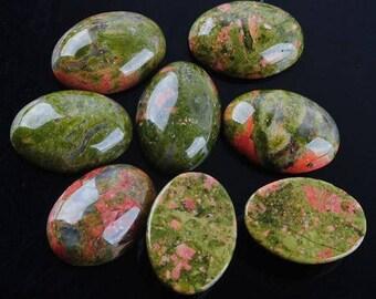 2 cabochon stones semi precious unakite, 18 * 13mm