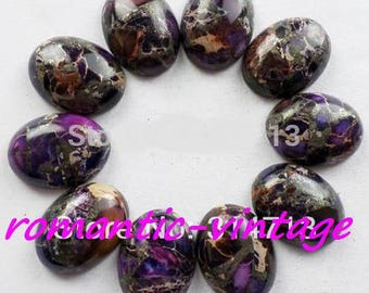 1 beautiful cabochon stones (Jasper purple sediment and pyrite) 25 * 18mm