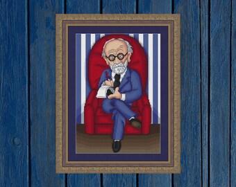Dr. Sigmund Freud - cross stitch pattern PDF