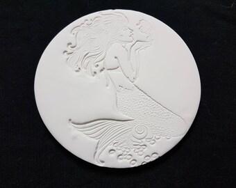 Beautiful Mermaid Round Clay Coaster Set (4 coasters)