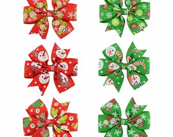 12pcs/lot 6 colors Kids Grosgrain Ribbon Christmas Gift Cute Hair Bow Clips Boutique Hairpins for Girl DIY Hair Accessories 642