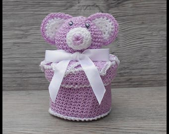 10 purple and white Teddy bear for baptism favors boxes