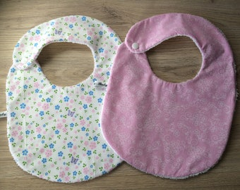 baby bib personalized pink flowers