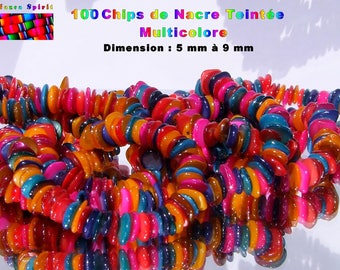 1 sachet of +/-100 multicolored dyed mother of Pearl Chips from 5 mm to 9 mm
