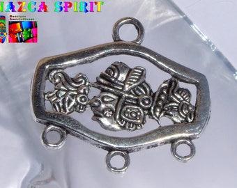 4 connectors Evides engravings native Americans in Relief of 2.7 cm x 2.4 cm antique silver color alloy