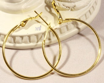 x 10 pairs of gilded brass with closure 30mm hoop
