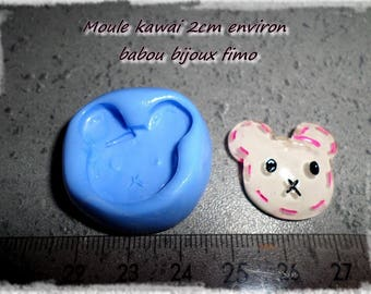 Mold animals kawaii for polymer clay about 2cm