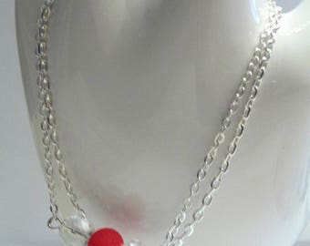 Bracelet double silver chain and beads
