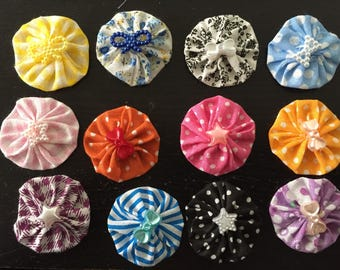 12 flowers kanzashi, yoyo to customize your creations, embellishment purse, hairclip, brooch, scrapbooking, flower, fabric lot N4