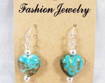 Earrings hooks - heart shaped blue beads