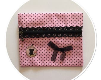 POUCH PINK POLKA DOT GREY ORGANZA BOW AND MEDAL BUSTIER