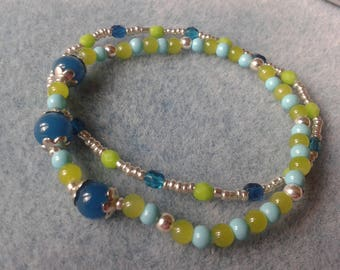 Green and turquoise beads and silver double bracelet