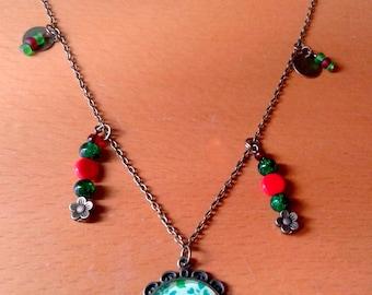 Bathmat spirit - glass cabochon necklace