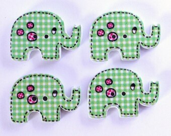 Elephant set of 10 wooden buttons: Green Plaid - 002227