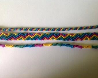 Set of purple, blue friendship bracelet green and yellow