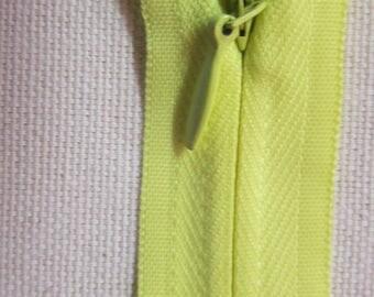 Yellow 25cm Invisible zip