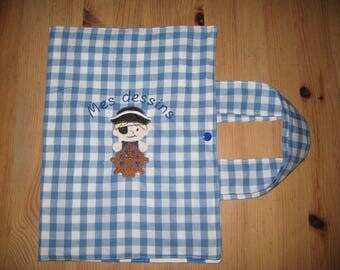 """The traveling artist """"pirate"""" blue gingham cotton bag"""