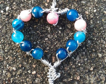 heart shaped blue agate beads