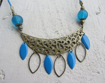 ethnic bib necklace crafted bronze metal, peacock blue sequins shuttle enamelled and leather cord