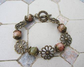 khaki Unakite gemstone beads and bronze metal flower bracelet / salmon