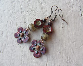 Drop earring, Burgundy red enameled copper flower charm, Lampwork and Czech glass, stones, gold and copper