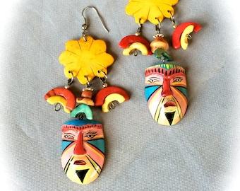 Earrings colorful ethnic vintage mask
