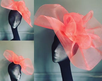 Coral pink fascinator, wedding hat, ascot hat, mother of the bride