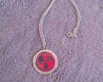 CLEARANCE black and Red cabochon silver plated chain necklace