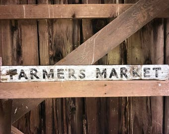 Farmers Market Sign This is handpainted and distressed for an aged, vintage look.