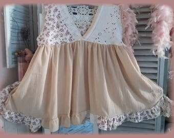 shabby chic tunic made of cotton gauze and old linen in a romantic style
