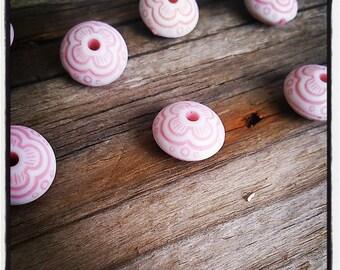 Set of 10 acrylic beads ethnic pink 12X7mm
